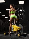 行使与在健身房的杠铃的健身女孩 库存图片