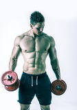 行使二头肌的肌肉赤裸上身的年轻人 免版税库存图片