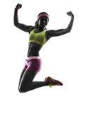 行使健身锻炼训练silhouet的妇女 免版税库存图片
