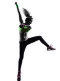 行使健身zumba跳舞剪影的妇女 图库摄影