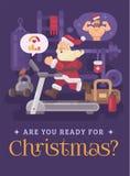 行使和进入圣诞节的形状的圣诞老人 跑在作梦一个强的身体的健身房的一辆踏车的圣诞老人 皇族释放例证