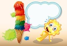 行使在冰淇凌附近的妖怪 免版税库存照片