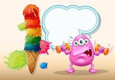 行使在巨型冰淇凌附近的一个桃红色妖怪 库存图片