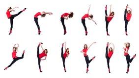 行使在白色的年轻体操运动员 免版税库存图片