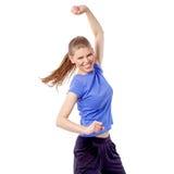 行使拉丁有氧运动舞蹈的精力充沛的健身妇女 库存照片