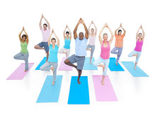 行使放松概念的小组健康人健身 免版税图库摄影