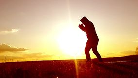 行使泰国拳击的人剪影 武术剪影供以人员在海滩的训练拳击在美好的日落backgr 股票视频