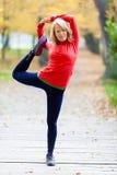 行使瑜伽的愉快的少妇 库存图片