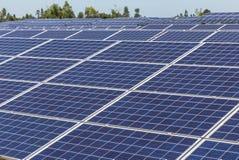 行列阵的关闭多晶的硅太阳能电池或photovoltaics在太阳能发电厂供选择的可再造能源为 库存照片