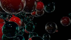 行动图表3d使动画成环作为在4k的背景与简单的球形和景深 许多黑和红色 股票录像