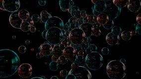 行动图表3d使动画成环作为在4k的背景与简单的球形和景深 许多黑球形群 股票录像