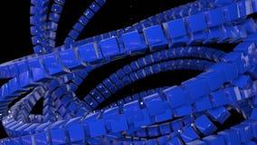 行动图表3d使动画成环作为在4k的背景与简单的立方体和景深 蓝色立方体形式摇摆 影视素材