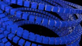 行动图表3d使动画成环作为在4k的背景与简单的立方体和景深 蓝色立方体形式摇摆 股票视频
