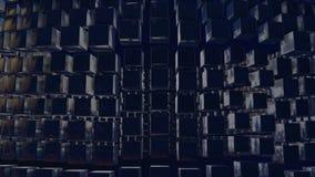 行动图表3d使动画成环作为在4k的背景与简单的立方体和景深 黑暗的构成  股票视频