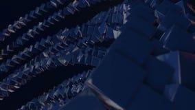 行动图表3d使动画成环作为背景与简单的立方体和景深 蓝色立方体形式摇摆 影视素材