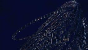 行动图表3d使动画成环作为背景与简单的立方体和景深 蓝色立方体形式摇摆 股票录像
