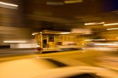 在旧金山的缆车的被弄脏的运动 免版税图库摄影