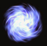 行动在空间的卷曲的蓝色一刹那射线 免版税库存照片