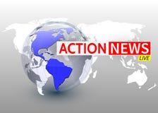 行动新闻,与行星的国际新闻backgorund,电视新闻设计 向量 向量例证