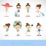 行动旅行逗人喜爱的女孩活动集合传染媒介设计 免版税库存图片