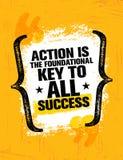 行动是基本原理的钥匙对所有成功 富启示性的创造性的刺激行情海报模板 横幅eps10文件层状向量 向量例证