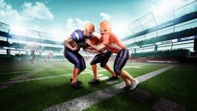 行动的专业美国橄榄球运动员对体育场 免版税库存照片