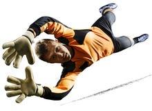 行动的专业足球守门员对白色背景 库存照片