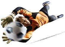 行动的专业足球守门员对白色背景 库存图片