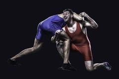 行动的两位自由式摔跤手 库存图片