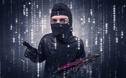 行动的夜贼与编码概念 图库摄影