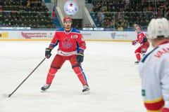行动的尤金Artyuhin (44)对曲棍球赛 库存照片