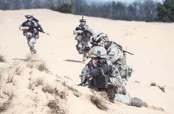 行动的步兵 库存照片