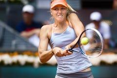 行动的玛丽亚・莎拉波娃在开放马德里Mutua的网球期间 库存图片
