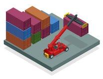 行动的等量流动容器经理在集装箱码头 起重机举容器经理被隔绝的传染媒介 库存例证