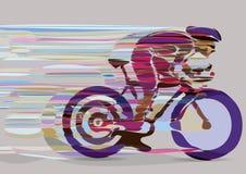 行动的艺术性的风格化赛跑的骑自行车者 免版税图库摄影