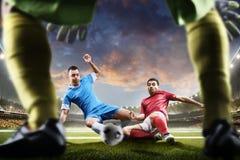 行动的足球运动员对日落体育场背景全景 免版税库存图片