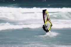 行动的风帆冲浪者在开普敦附近 库存图片