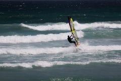 行动的风帆冲浪者 免版税图库摄影