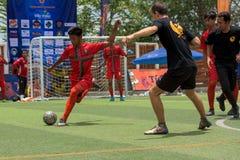 行动的, Kampot柬埔寨足球运动员 柬埔寨 图库摄影