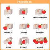 行动的介词幼儿园-教育的活页练习题的 库存图片