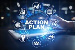 行动纲领,经营战略,在虚屏上的时间管理概念 免版税库存图片