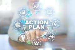 行动纲领,经营战略,在虚屏上的时间管理概念 免版税库存照片