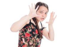 行动自然偶然的女孩惊吓 库存照片