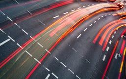 行动被弄脏的城市道路交通 库存照片