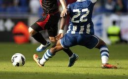 行动足球。惩罚 库存照片