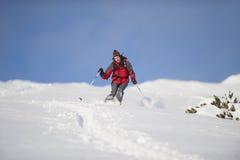 行动滑雪的滑雪者 免版税库存图片