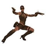 行动steampunk战士女孩 免版税库存图片