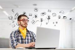 行家人用途膝上型计算机 混合画法 免版税图库摄影