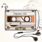 行家传染媒介与老卡式磁带和耳机的音乐背景 免版税库存图片