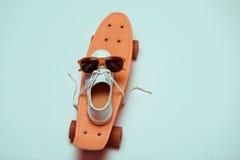 行家便士板、做兴高采烈的构成的一双运动鞋和太阳镜 库存图片